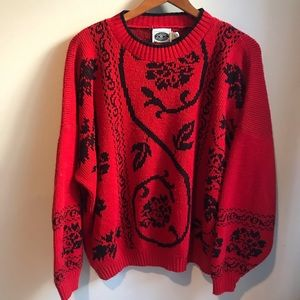 Vintage VTG red and black roses sweater size 20w